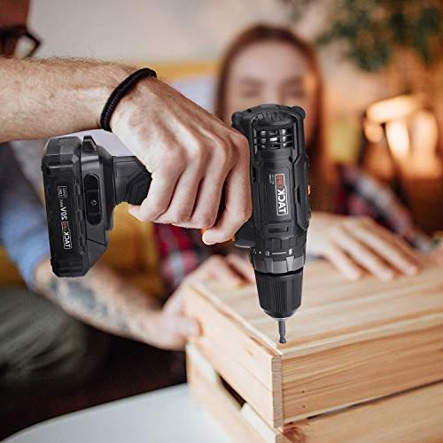 """Tacklife Lithium-Ion 3/8"""" Drill Driver, 2-Speed 265 In-lbs with Cell and Charger Included"""