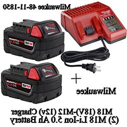 Milwaukee 48-59-1850 M18 RED LITHIUM XC 5.0 Ah Batteries  +
