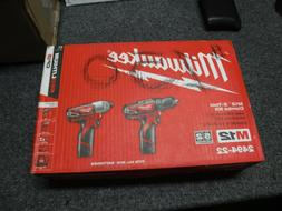"NEW MILWAUKEE 2494-22 M12 2-TOOL COMBO KIT 3/8"" DRIVER 1/4"""