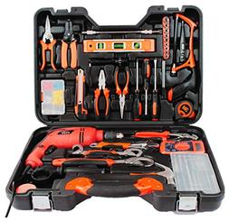 Gyqjs 128-Pack Multi-Function Toolbox, Impact Drill, Home De