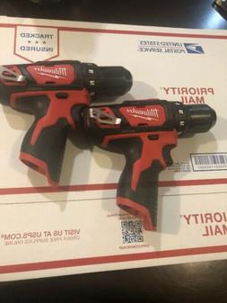 "NEW MILWAUKEE 2 Pack 2407-20 M12  12 Volt 3/8"" Drill Driver"