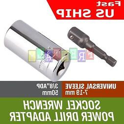 NEW   Universal Socket Wrench Power Drill Adapter 2 Piece Se