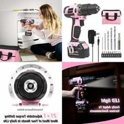 WORKPRO Pink Cordless 20V Lithium-ion Drill Driver Set ,1 Ba