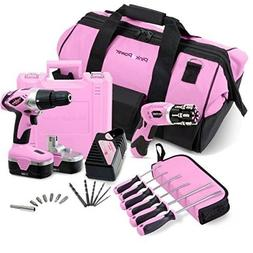 Pink Ladies Power Tool Combo Set Cordless Drill Driver Elect