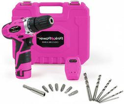 Pink Power PP121LI 12V Cordless Drill and Driver Tool Kit fo