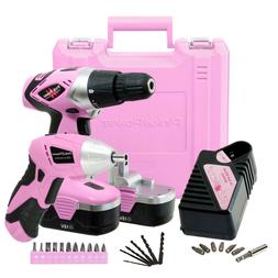 Pink Power Drill and Electric Screwdriver Tool Kit PP1848K 1