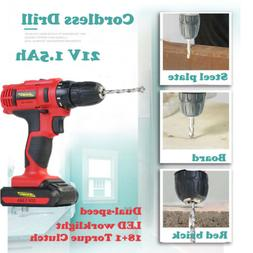 Red Cordless Wirless Combi Drill 21V Dual-speed with Li-Ion