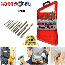 10pc Screw Extractor | Left Hand Cobalt Drill Bit Set Easy O